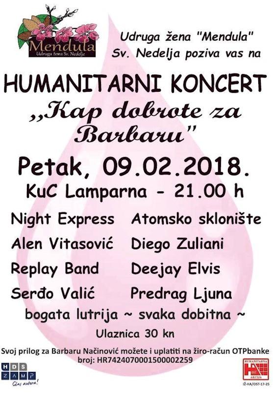 """Danas Humanitarni koncert """"Kap dobrote za Barbaru"""" u KUC Lamparna"""