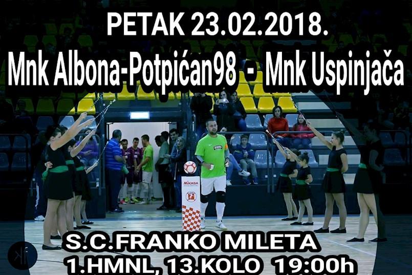Malonogometaši Albone Potpićna 98 večeras dočekuju momčad zagrebačke Uspinjače