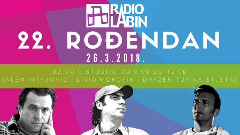 Alen Vitasović, Livio Morosin i Dražen Turina Šajeta uživo za 22. rođendan Radio Labina!
