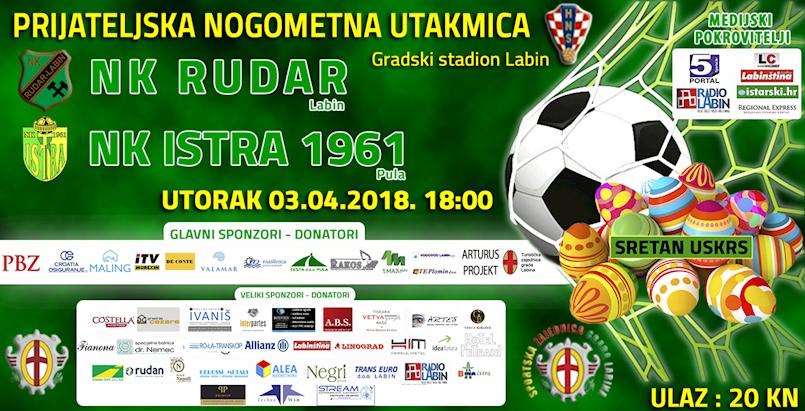 [NAJAVA] LABIN: NK Rudar-NK Istra 1961, utorak 03.04.2018. u 18h
