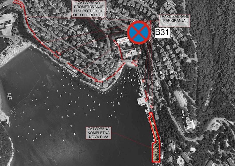 [OBAVIJEST] Od danas zabranjen parking na rivi i Obali Maršala Tita