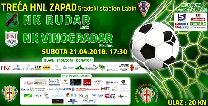 [NOGOMET]  NK Rudar-NK Vinogradar subota 21. travnja 2018. godine u 17:30h Gradski stadion
