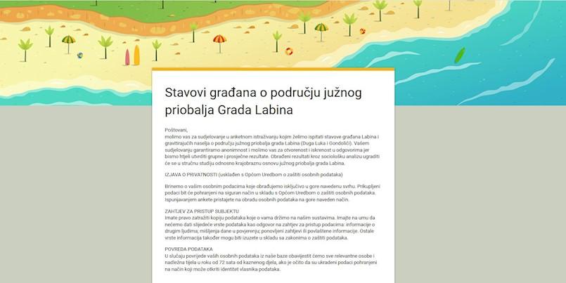 Krajobrazna osnova – aktivna anketa - Stavovi građana o području južnog priobalja Grada Labina