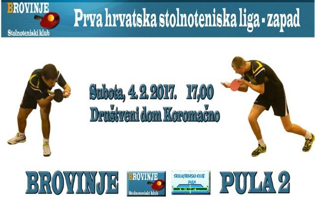 Idućeg vikenda STK Brovinje nastavlja natjecanje u Prvoj hrvatskoj stolnoteniskoj ligi