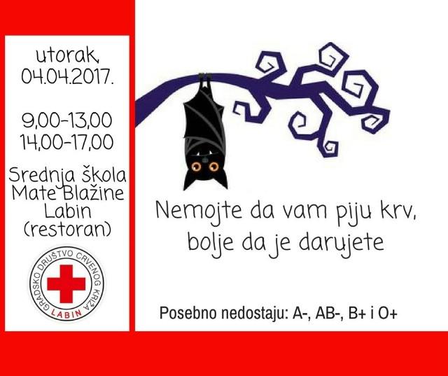 Akcija dobrovoljnog darivanja krvi u Labinu 04.04.2017.
