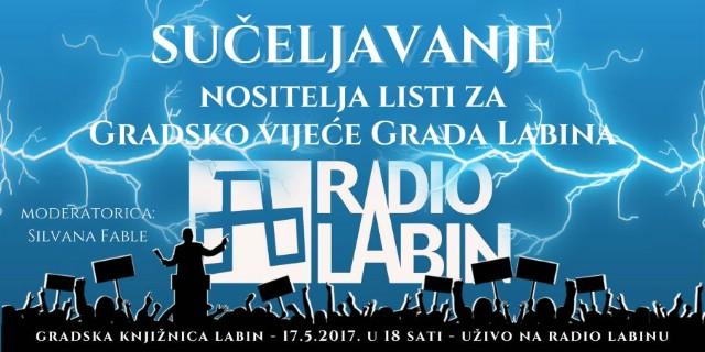 Sučeljavanje nositelja listi za Gradsko vijeće Grada Labina 17.5.2017. u Gradskoj knjižnici Labin i putem Radio Labina
