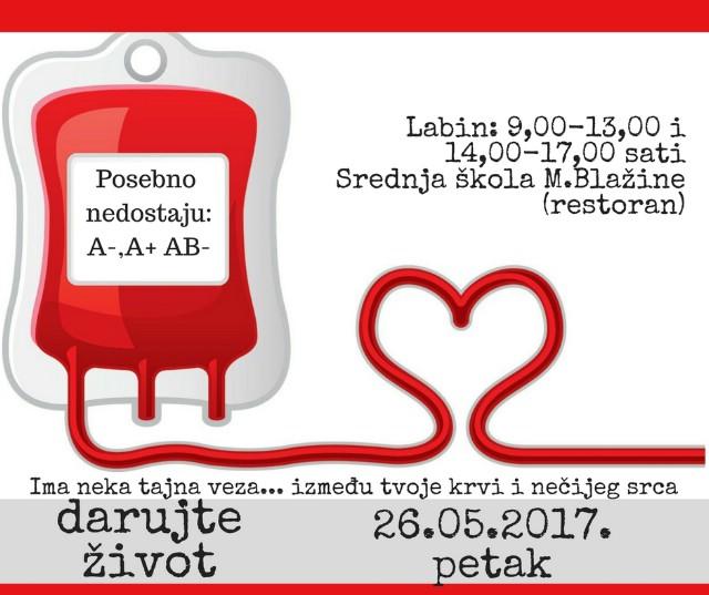 [NAJAVA] Akcija dobrovoljnog darivanja krvi u Labinu 26.05.2017. - Posebno nedostaju krvne grupe A+, A- AB-