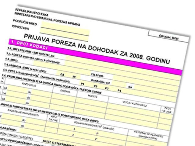 DOH 2008 obrazac/kalkulator za prijavu poreza dostupan za preuzimanje