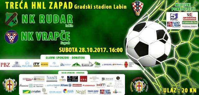 [NAJAVA] NK Rudar-NK Vrapče u subotu 28. 10. 2017. u 16sati Gradski stadion Labin