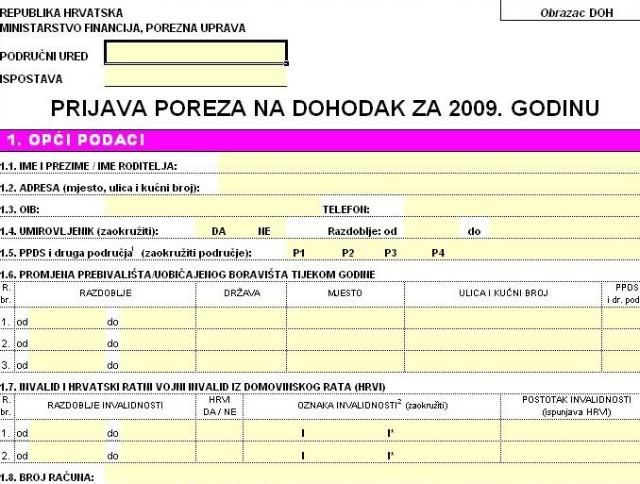Preuzmite DOH obrazac za izračun poreza za 2009. godinu (excel dokument)