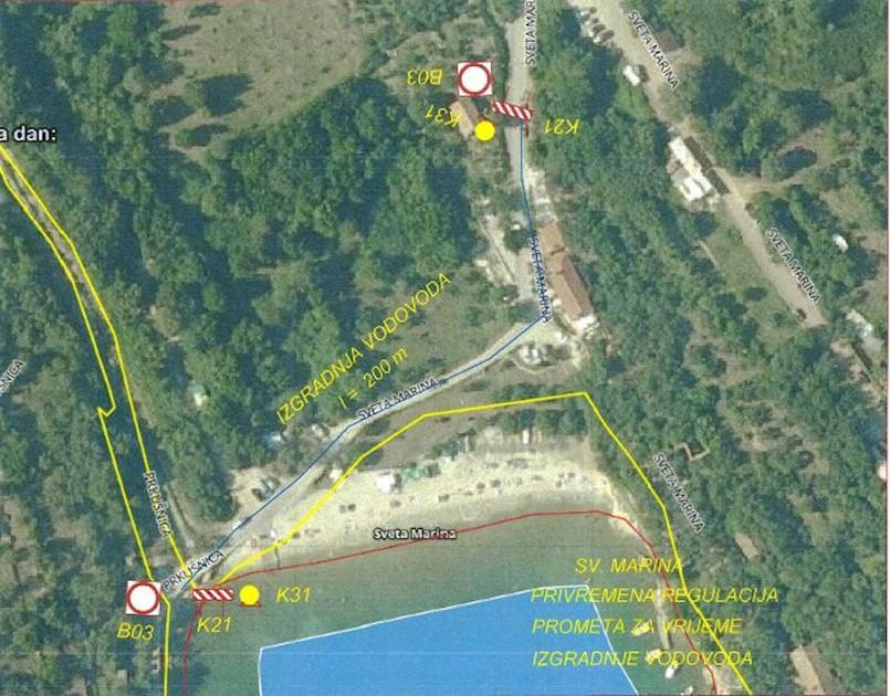 Obavijest o privremenom zatvaranju prometnice u naselju Sv. Marina
