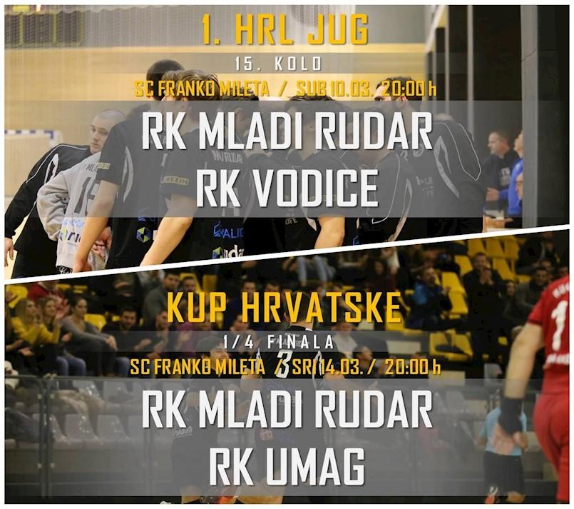 Najava utakmica RK Mladog rudara predstojeći vikend / U srijedu 1/4 Kupa Hrvatske RK Mladi Rudar – RK Umag