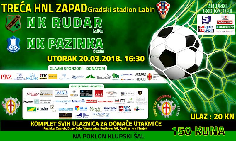 Odgođena utakmica NK Rudara i NK Pazinke