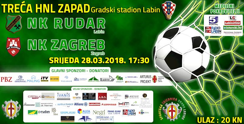 [NAJAVA] BIVŠI PRVAK DRŽAVE U LABINU: NK Rudar-NK Zagreb srijeda 28.03.2018. u 17:30 sati