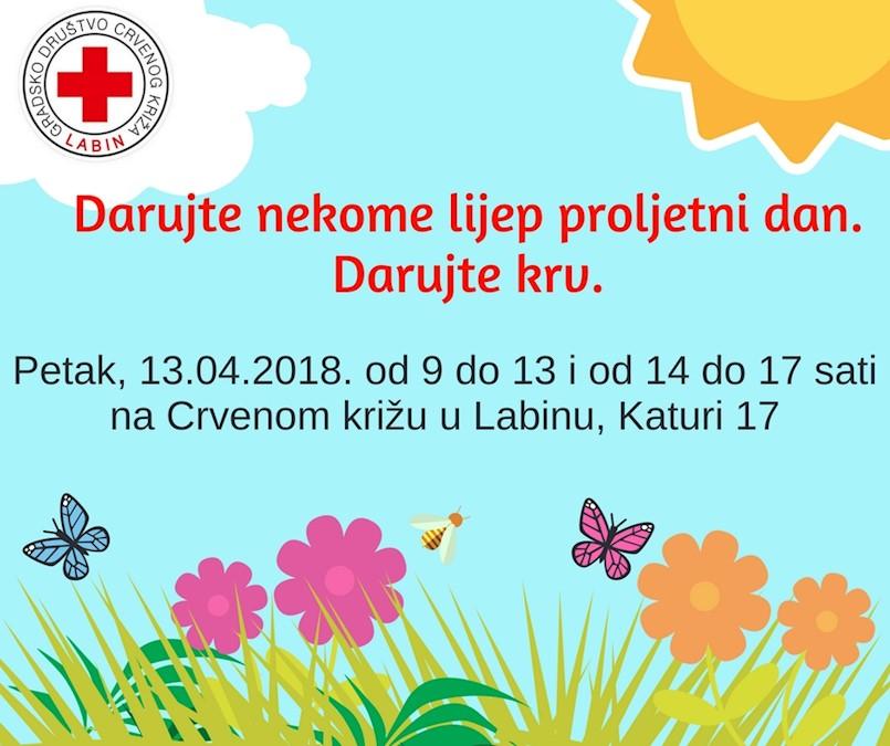 [NAJAVA] Akcija dobrovoljnog darivanja krvi u Labinu 13. 4. 2018.