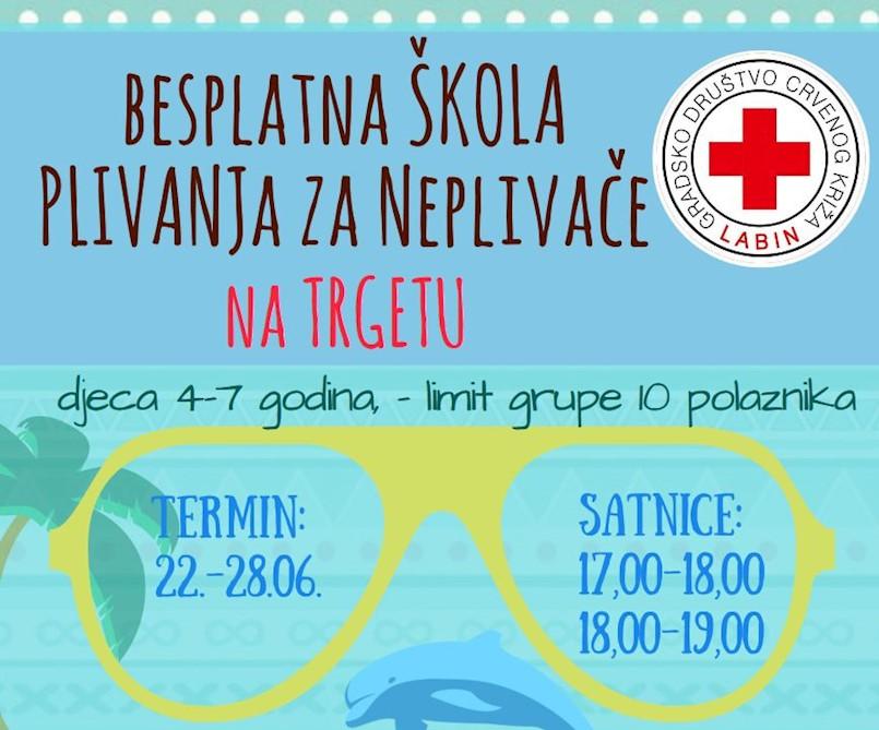 Poziv Crvenog križa Labin: škole plivanja u Trgetu, Tunarici i Rapcu