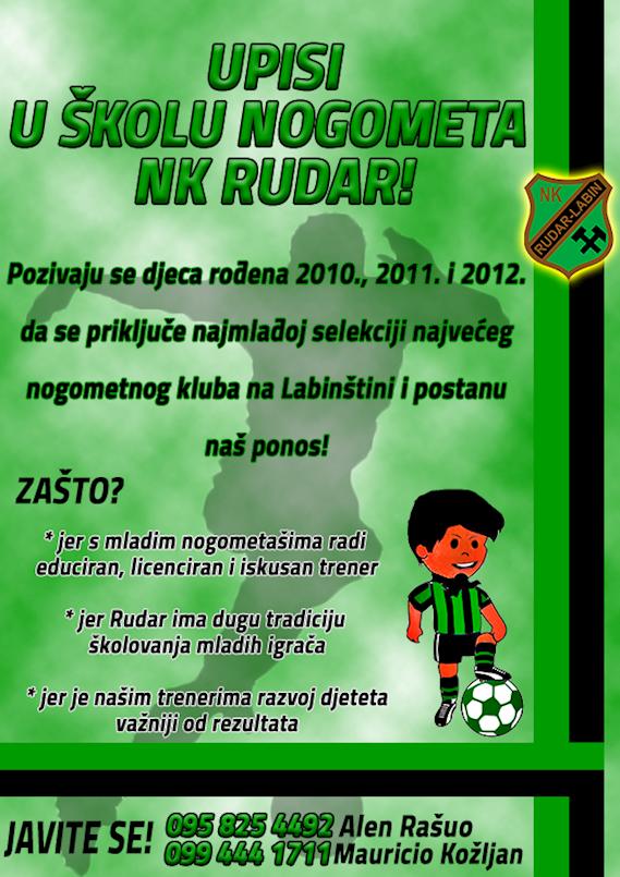 NAGRADNA IGRA |Letak kovarske škole nogometa podijeli i novi dres Rudara osvoji!