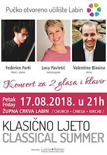 Klasično ljeto 2018: Koncert za 2 glasa i klavir
