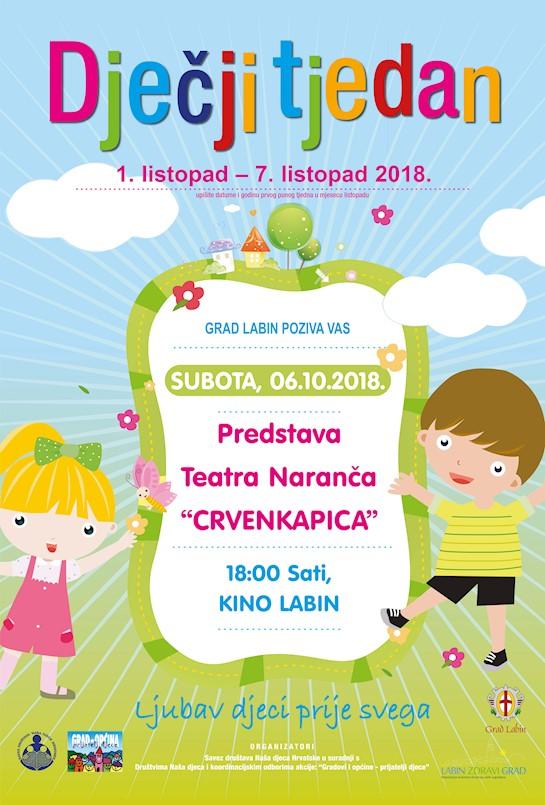 """U subotu predstava Teatra Naranča """"Crvenkapica"""""""