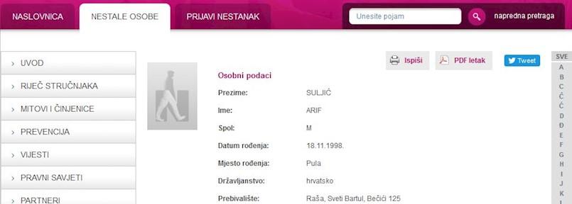 Nestalo Arif Suljić (20) iz Bečići