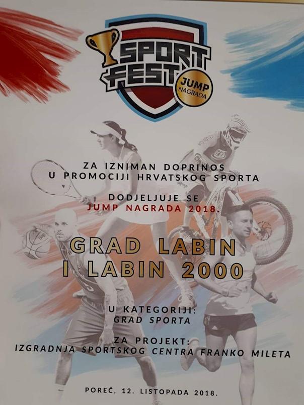 Grad Labin dobitnik nagrade Grad sporta za projekt izgradnje Sportskog centra Franko Mileta