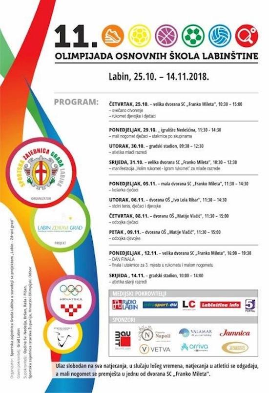 U četvrtak počinje 11. Olimpijada OŠ Labinštine
