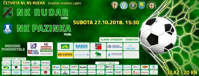 [NAJAVA] Istarski derbi u subotu na gradskom stadionu 27.10. u 15:30 NK Rudar - NK Pazinka