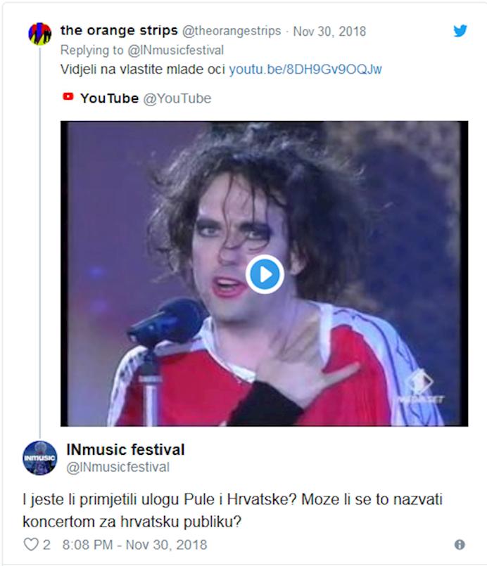 Twitter okršaj | The Orange Strips vs InMusic Festival: Je li bend The Cure nastupio prvi put u RH ili u Istri?