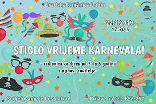 """Edukativno-kreativna radionica """"Stiglo vrijeme karnevala!"""" u Gradskoj knjižnici Labin"""