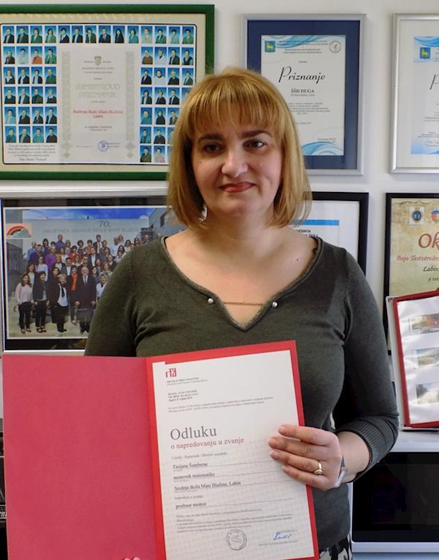 Profesorica matematike iz labinske Srednje škole, Ticijana Šumberac, promovirana u zvanje mentora