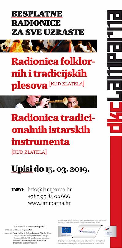 [DKC LAMPARNA] Poziv na besplatne radionice tradicijske glazbe i plesa!