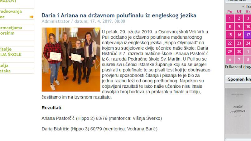 Ariana Pastorčić i Daria Bistričić iz OŠ V.Š. Pajo Nedešćina na državnom polufinalu iz engleskog jezika