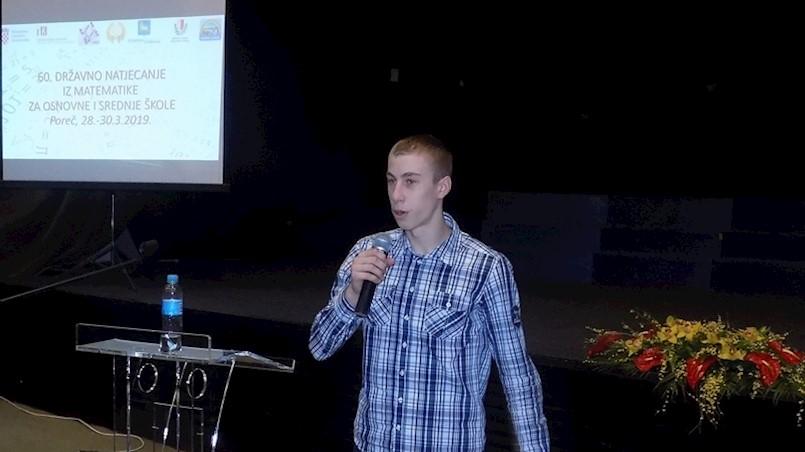 Rezultati državnog natjecanja iz matematike - Petar Dundara 13. učenik u državi