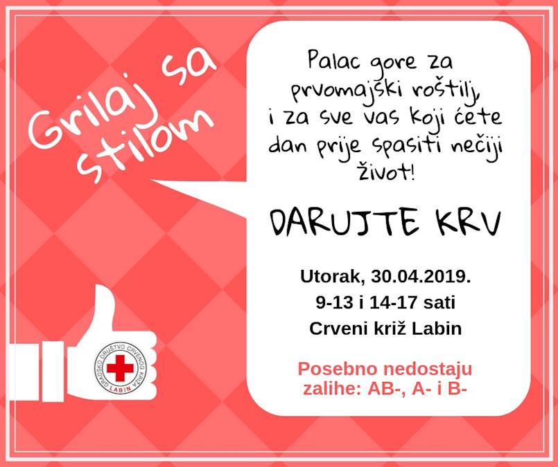 [NAJAVA] Akcija dobrovoljnog darivanja krvi u Labinu u utorak 30. 4. 2019 | trenutno su ugrožene zalihe krvnih grupa AB-, A- i B-