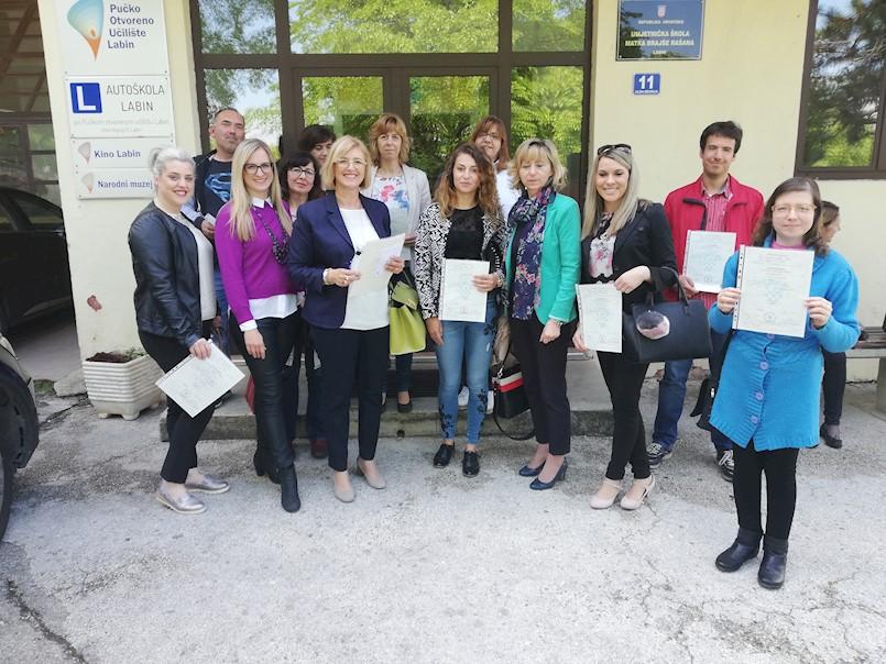 Dodijeljene svjedodžbe HZZ EU fondovi u Pučkom otvorenom učilištu Labin