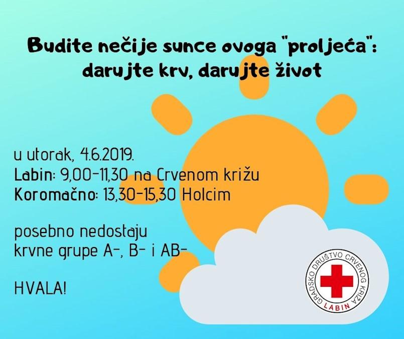 [NAJAVA] Akcija dobrovoljnog darivanja krvi u Labinu i Koromačnu u utorak 4. lipnja | Trenutno ugrožene zalihe krvnih grupa A-, B- i AB-