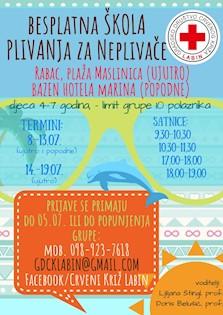 [POZIV] Besplatna škola plivanja za neplivače u Rapcu i Tunarici