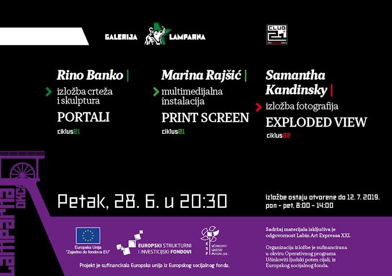Novo trostruko otvorenje izložbi mladih suvremenih umjetnika u DKC Lamparni u organizaciji Labin Art Expressa XXI  u petak 28/06/2019
