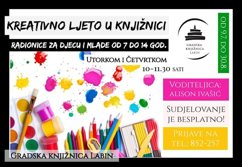 Ljetne likovno-kreativne radionice za osnovnoškolce  u Gradskoj knjižnici Labin