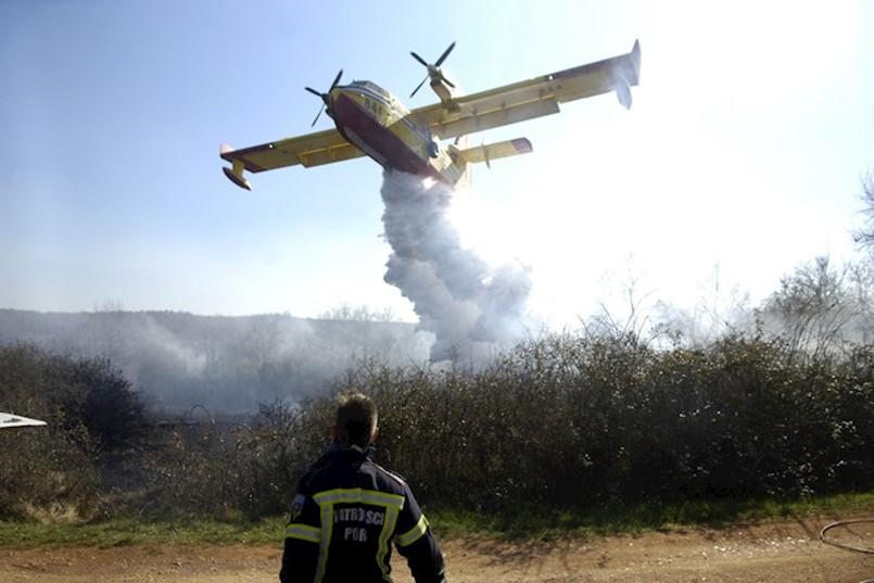 Lokaliziran šumski požar između Barbana i Raše, izgorjelo četiri hektara gustog raslinja i šume