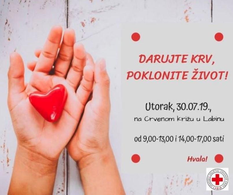 [NAJAVA] Akcija dobrovoljnog darivanja krvi u Labinu 30.07.2019. utorak | Posebno nedostaju krvne grupe A+, A- , AB- i 0-.