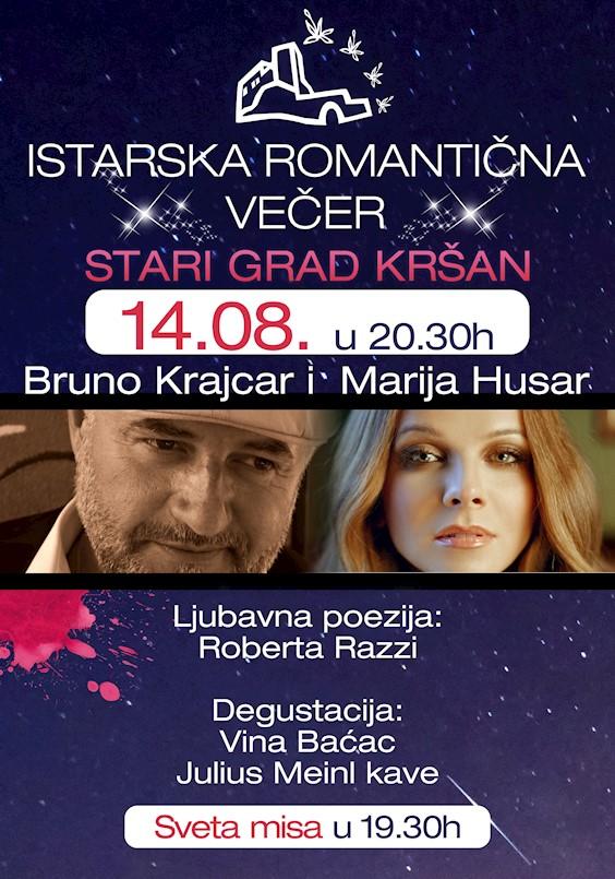 Večeras istarska romantična večer u Kršanu | Koncert Bruna Krajcara i Marije Husar