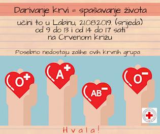 [NAJAVA] Akcija dobrovoljnog darivanja krvi u Labinu 21.8 .2019. srijeda | Posebno nedostaju krvne grupe A+, 0+, 0- i AB-