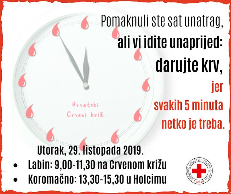 [NAJAVA] Akcija dobrovoljnog darivanja krvi u Labinu i Koromačnu 29. 10. 2019. utorak