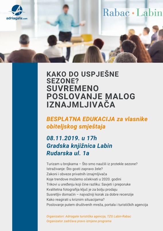 TZ Grada Labina poziva na besplatnu edukaciju:  Kako do uspješne sezone? Suvremeno poslovanje malog iznajmljivača
