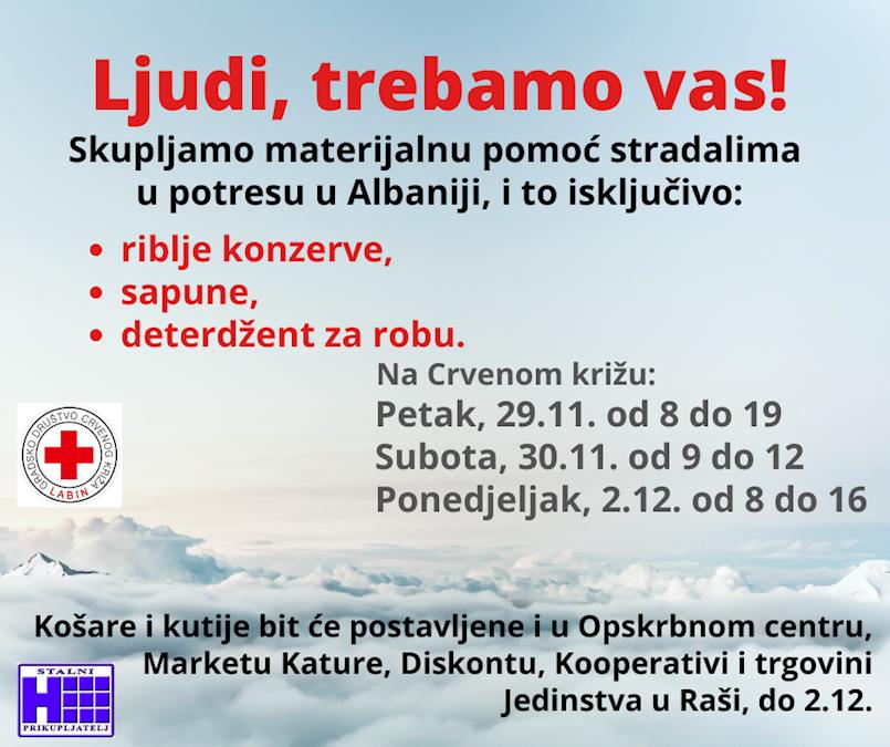Crveni križ prikuplja pomoć za stradale u potresu u Albaniji