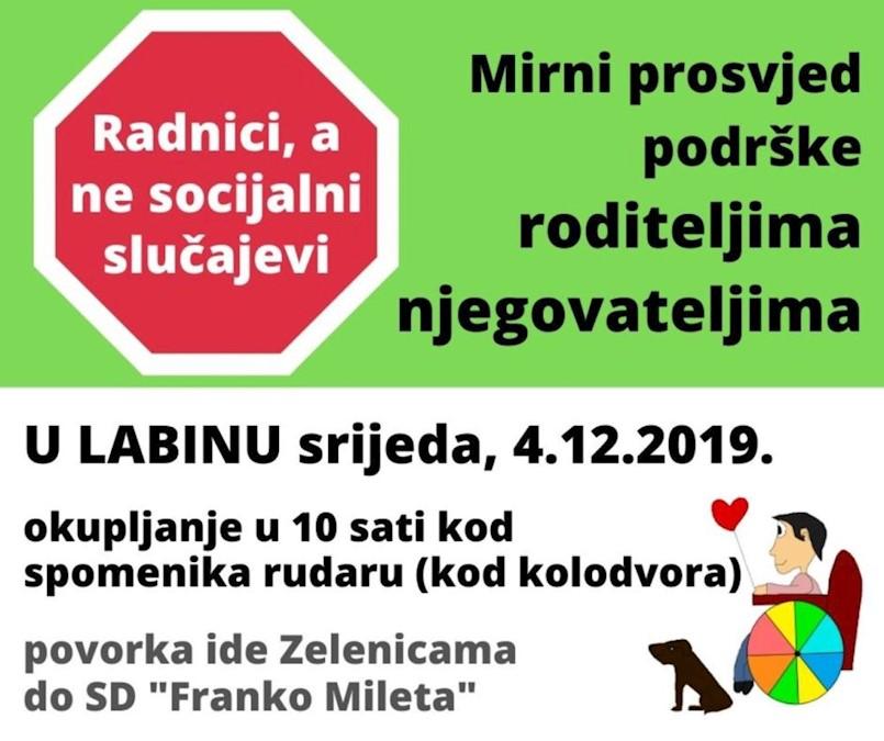 Mirni prosvjed podrške roditeljima njegovateljima u Labinu