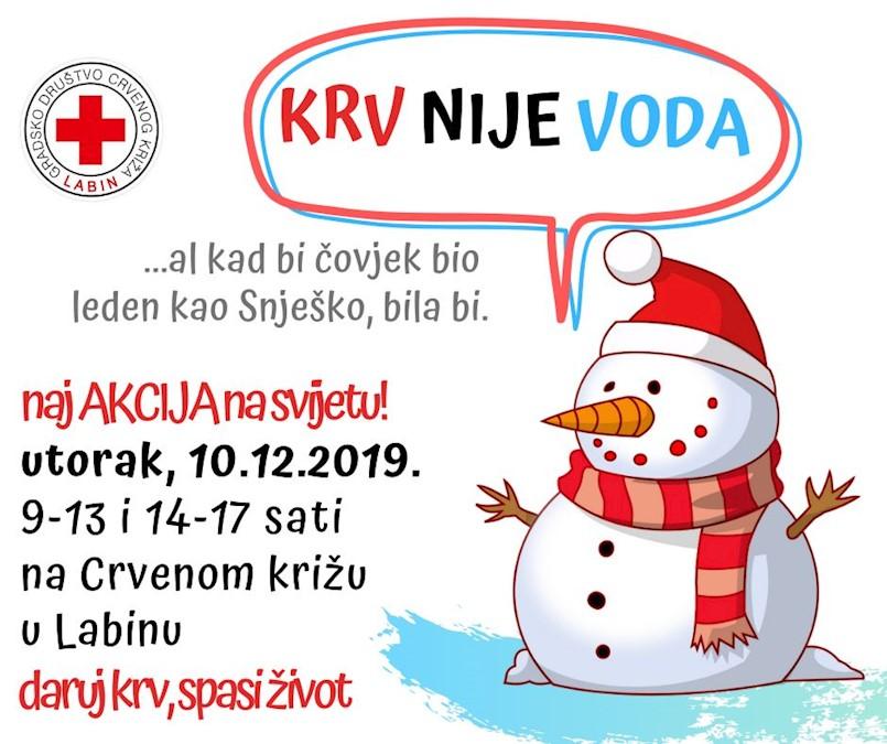 [NAJAVA] Posljednja ovogodišnja akcija dobrovoljnog darivanja krvi u Labinu u utorak 10. prosinca 2019.
