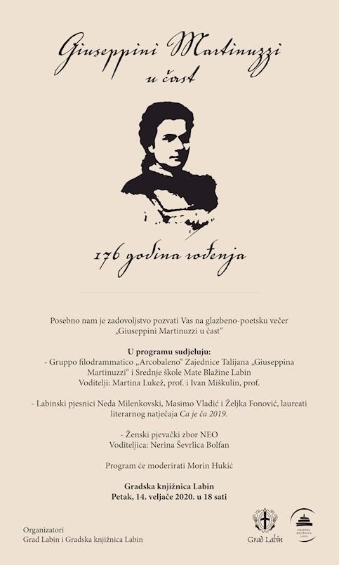 U Gradskoj knjižnici Labin glazbeno-poetska večer Giuseppini Martinuzzi u čast