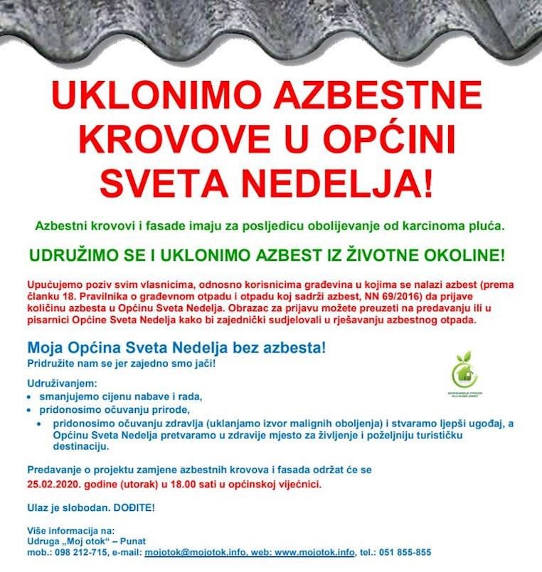 """Danas predavanje u sklopu javnog poziva """"Moja Općina Sveta Nedelja bez azbesta!"""